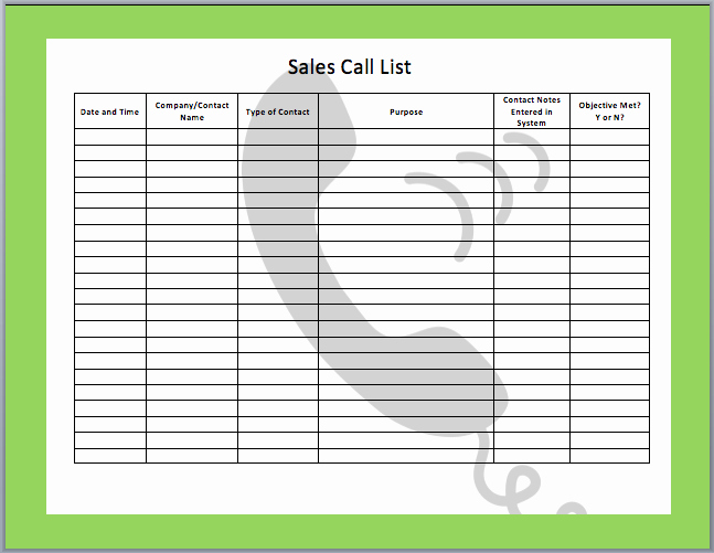 Sales Call Templates Free Search Results
