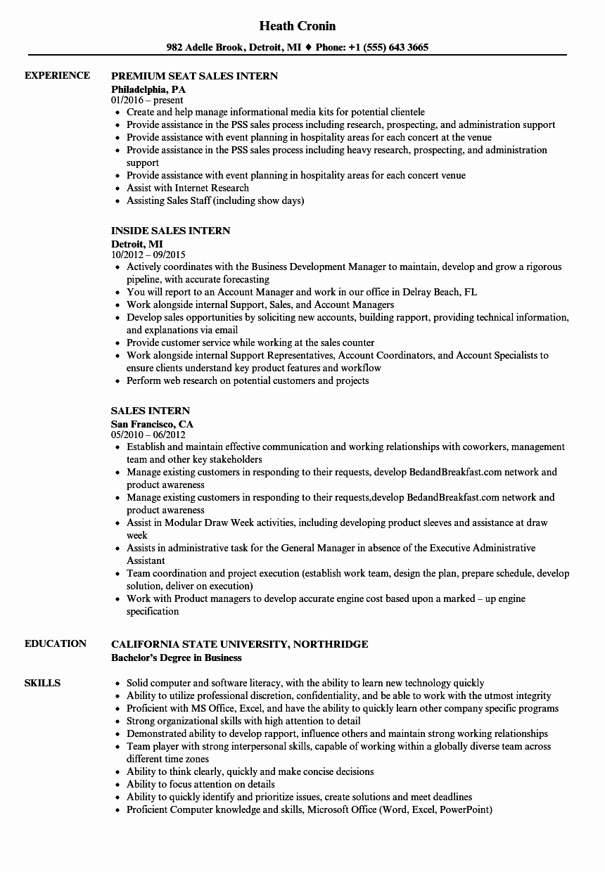 Sales Intern Resume Samples