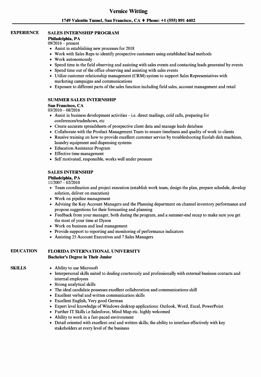 Sales Internship Resume Samples