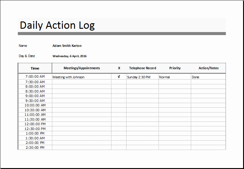 Sales Log Food Nutrition and Action Log Templates