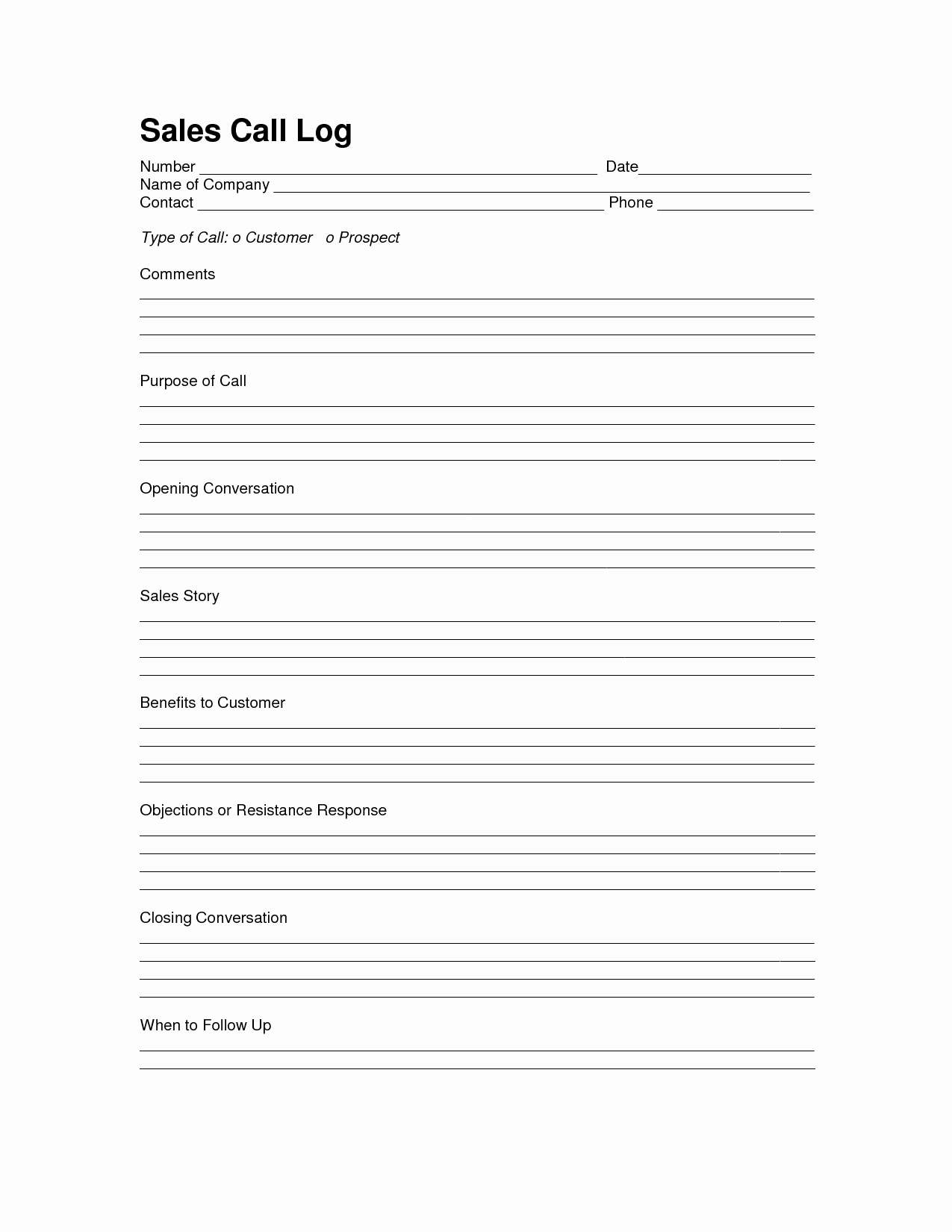 Sales Log Sheet Template Sales Call Log Template