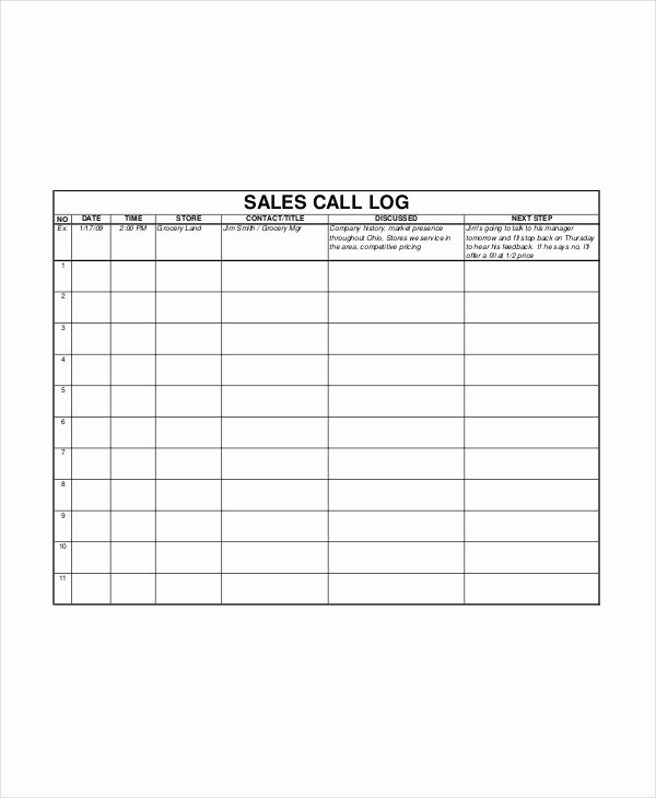 Sales Log Template 5 Free Word Documents Download