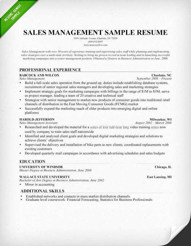Sales Manager Resume Sample & Writing Tips