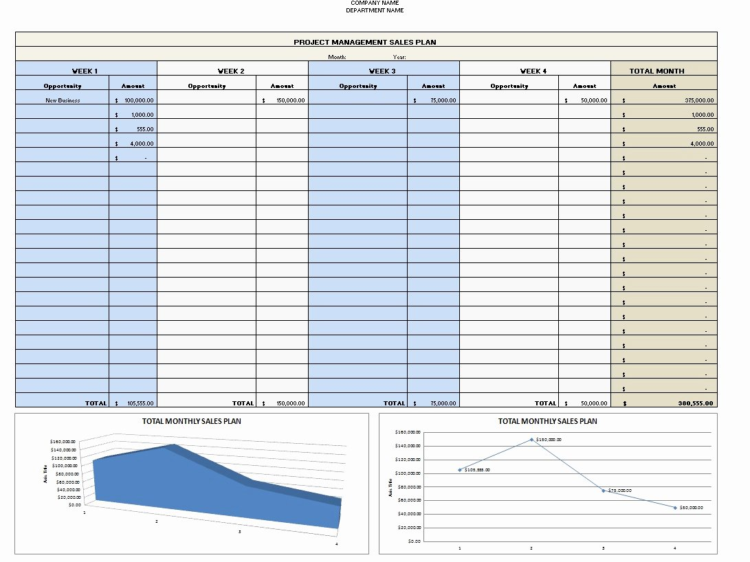 Sales Plan Template Excel Excel Templates