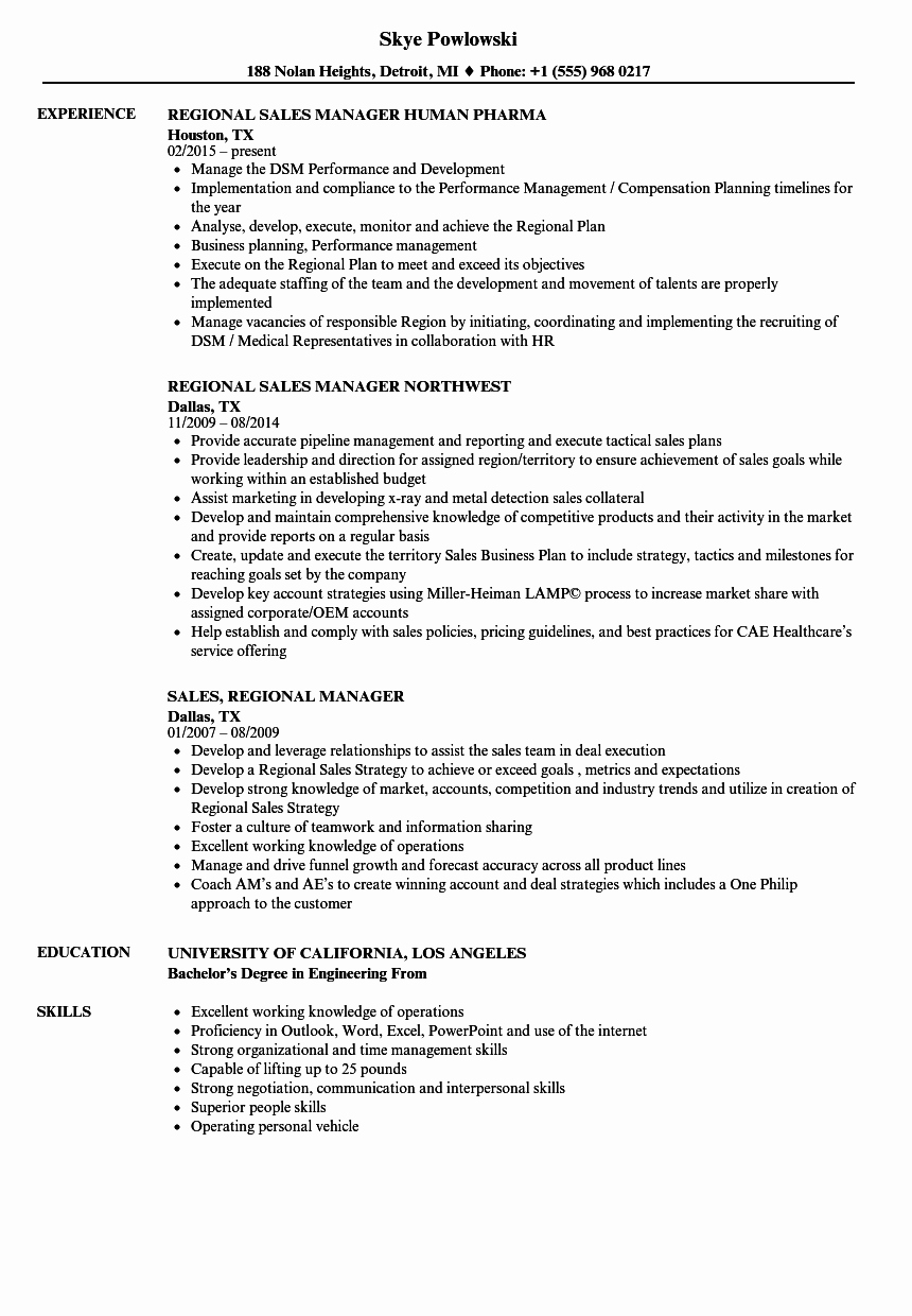 Sales Regional Manager Resume Samples