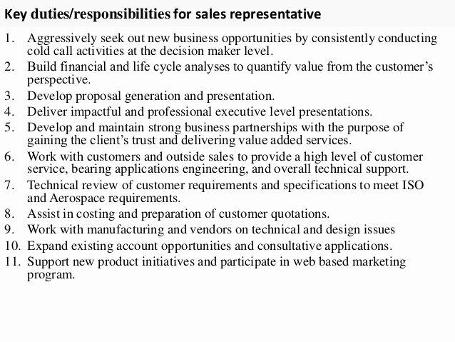 Sales Representative Job Description Resume Resume Ideas