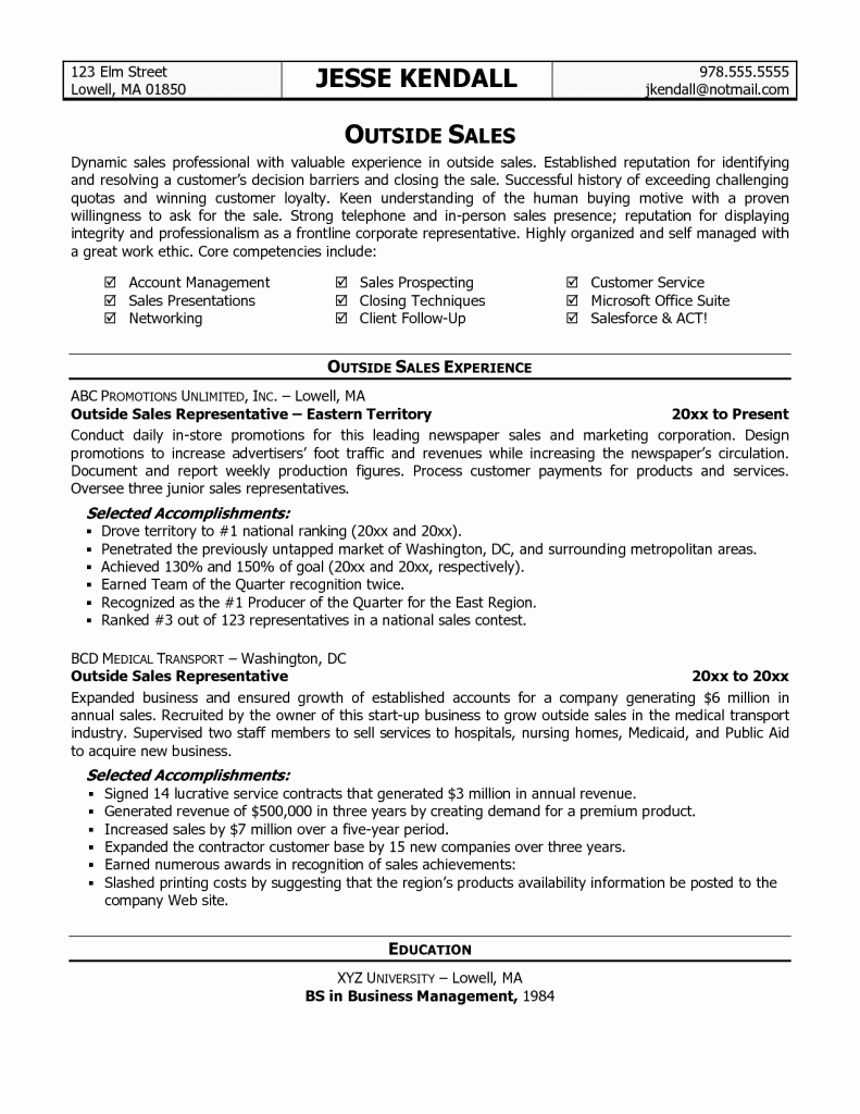 Sales Representative Resume Description Outside Summary