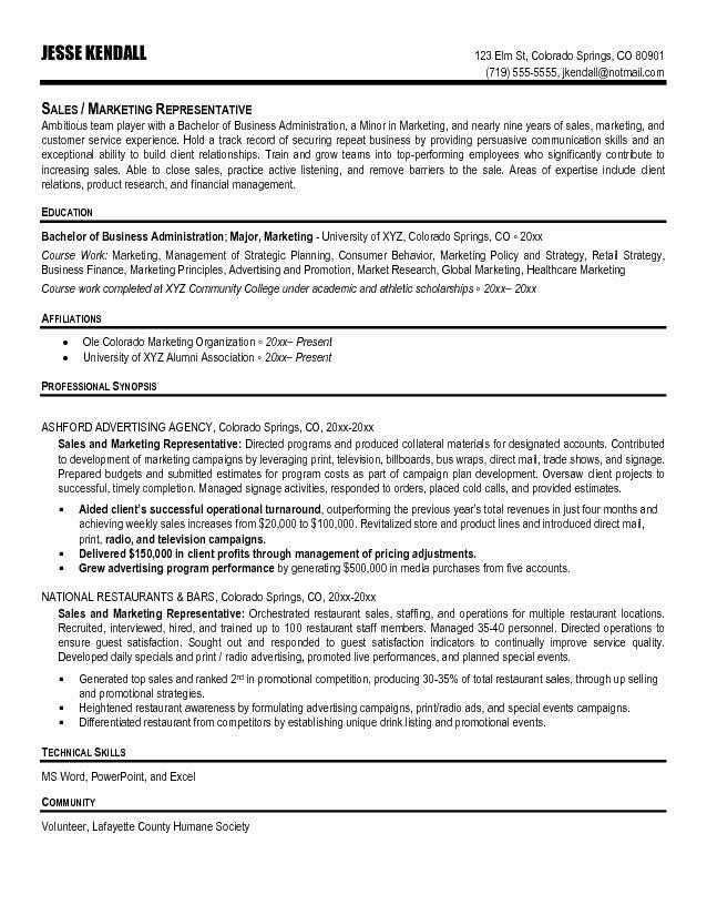 Sales Representative Resume Sample
