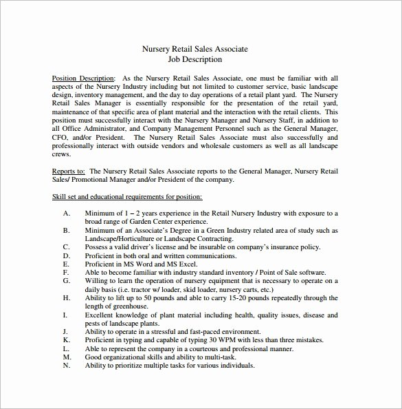 Sales Resume Description