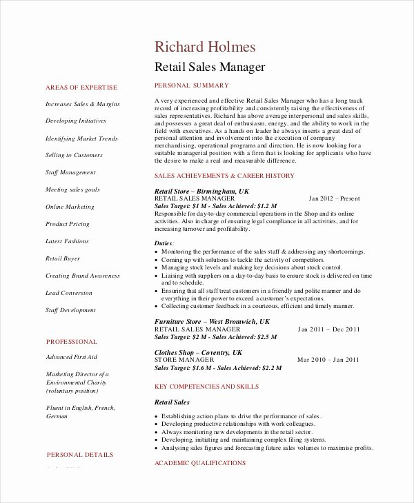 Sales Resume Example 7 Free Word Pdf Documents