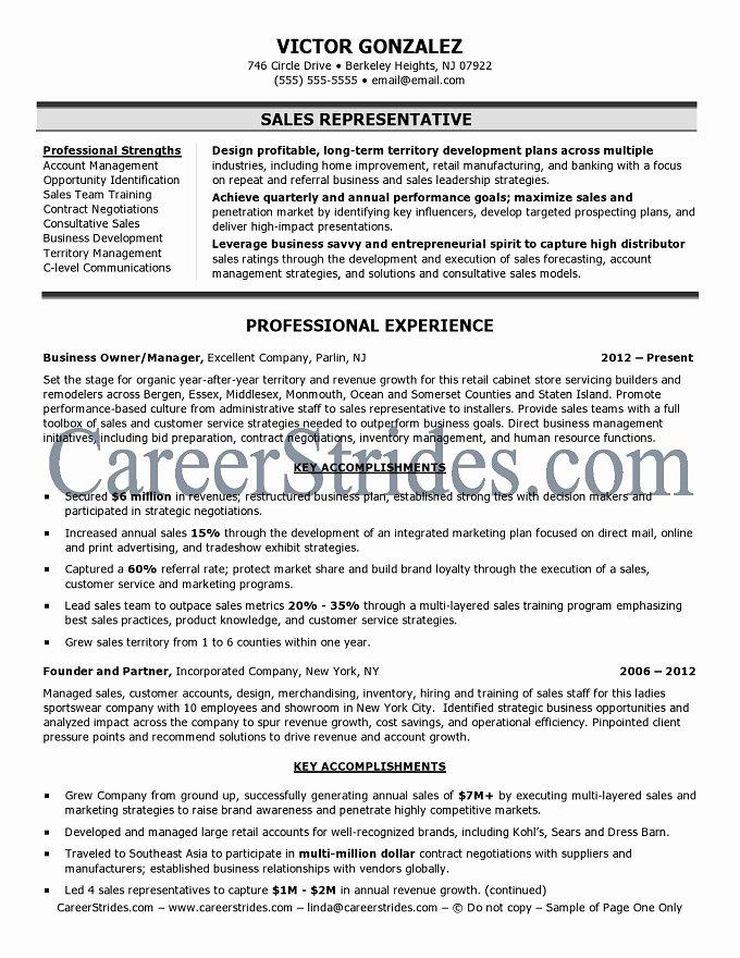 Sales Resume Sample Sales Representative Resume