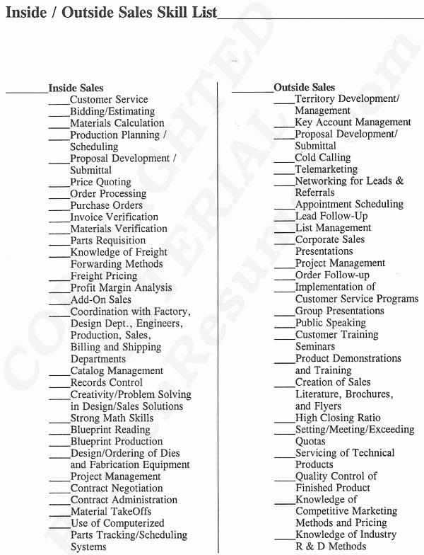 Sales Resume Skills at Provenresumes