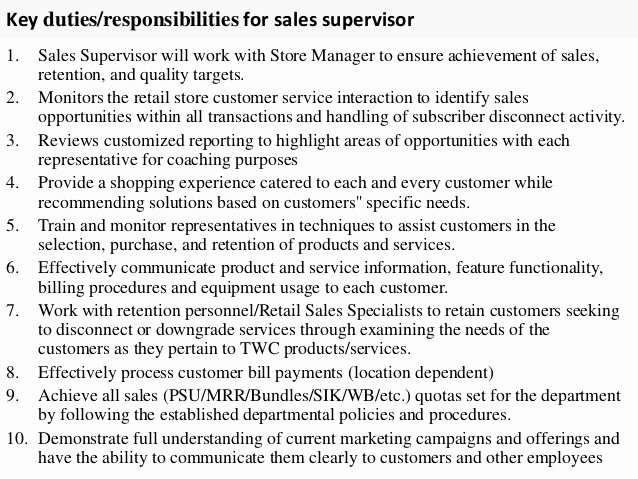 Sales Supervisor Job Description
