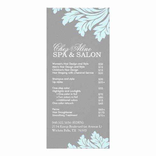 Salon and Spa Service Menu Rack Card Design