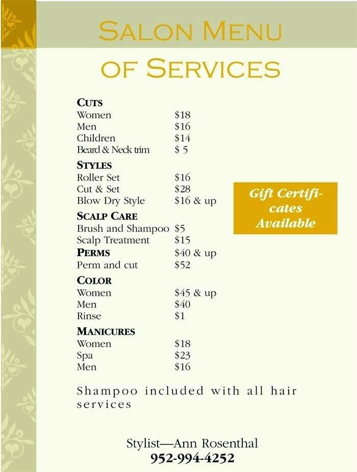Salon Menu – Linemarking