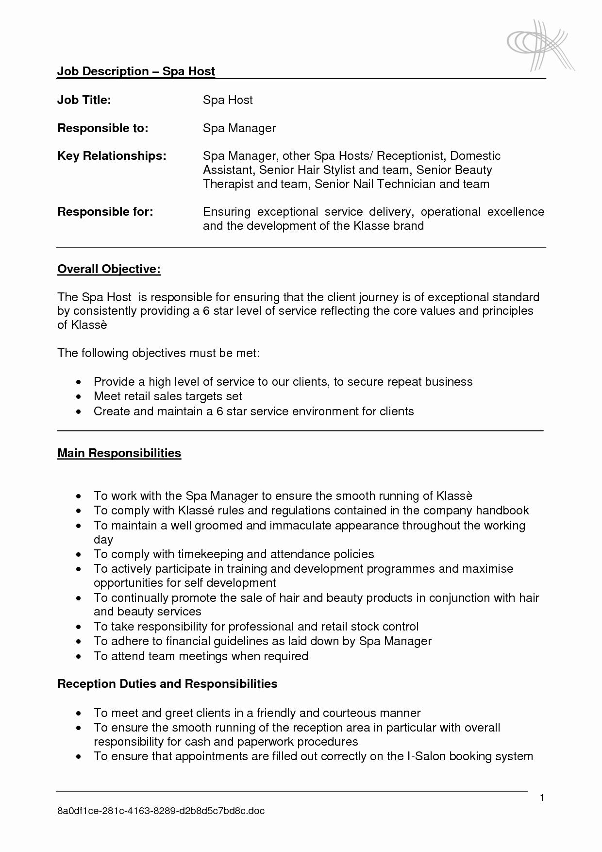Salon Receptionist Job Description for Resume Resume Ideas