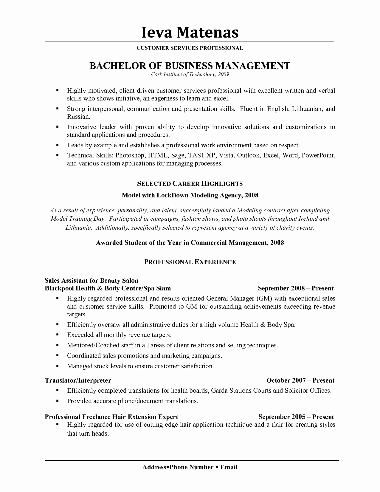 Salon Resume