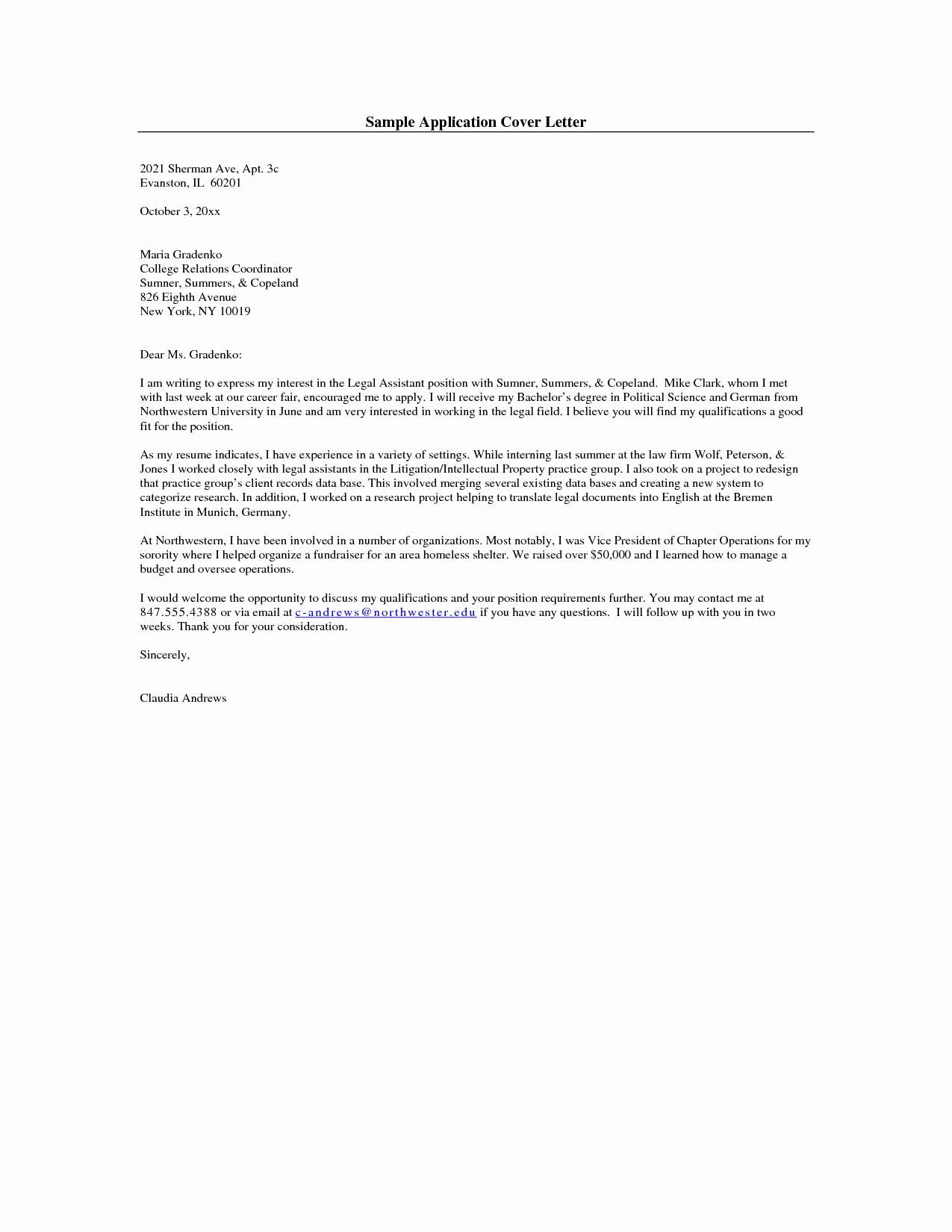 Sample A Cover Letter for Line Application