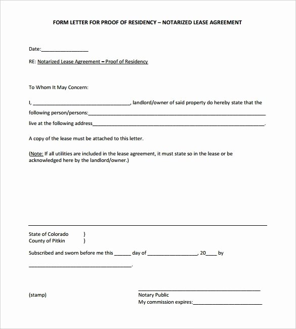 Sample A Notarized Letter for Residence