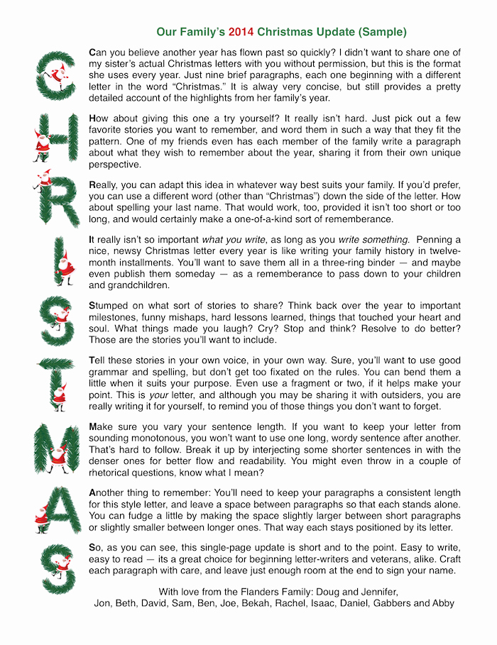 Sample Acrostic Christmas Letter with Free Printable