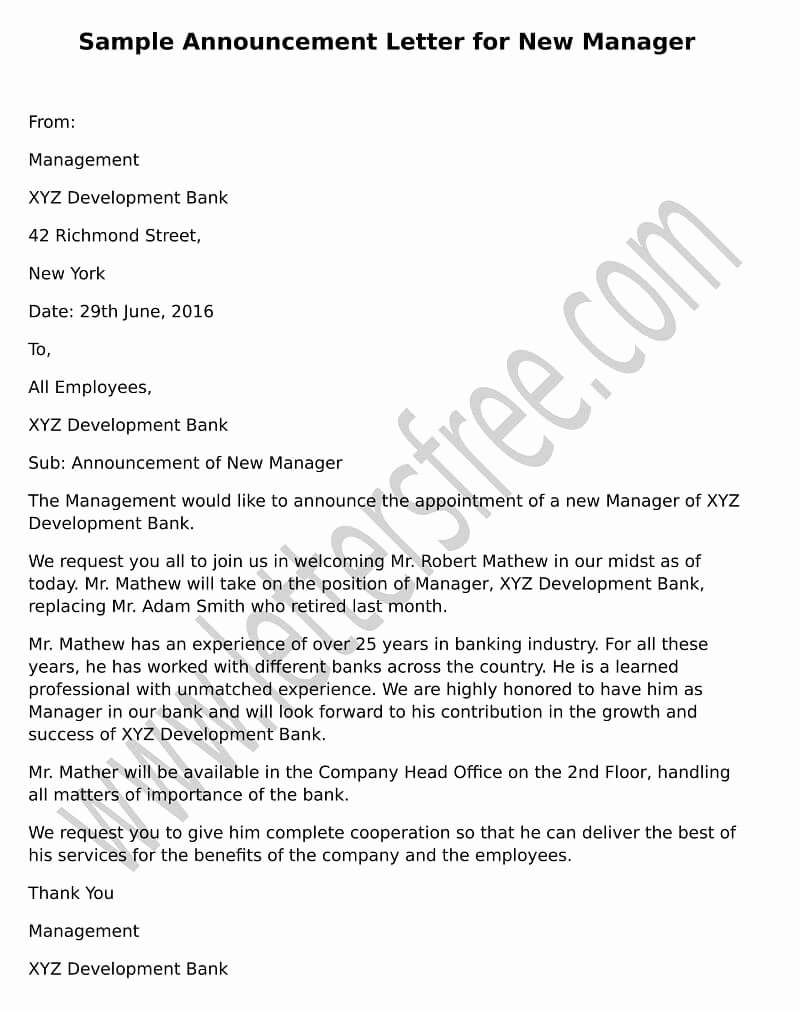 sample announcement letter for new manager
