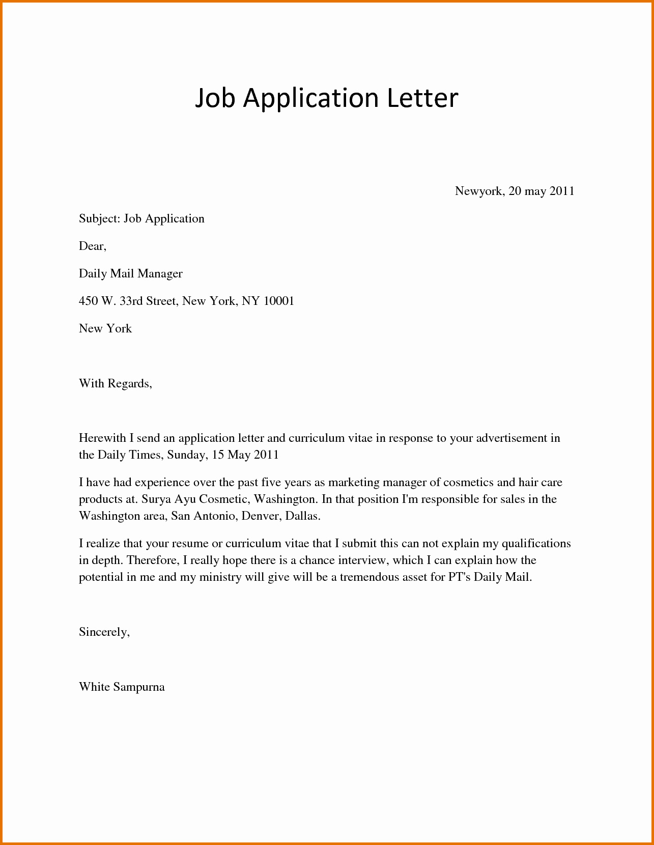 Sample Application Job Letterreference Letters Words