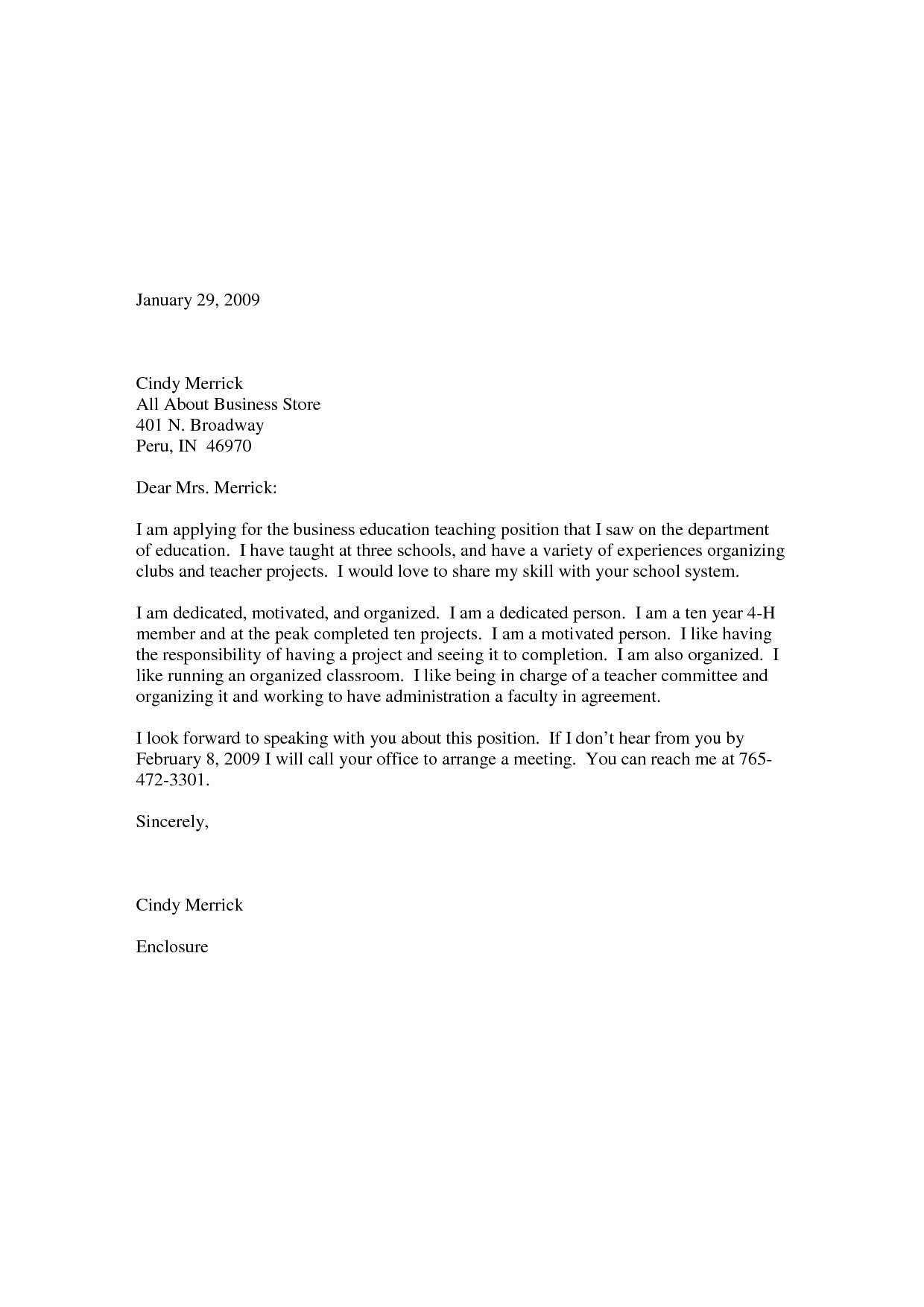 Sample Application Letter for Elementary School Teacher