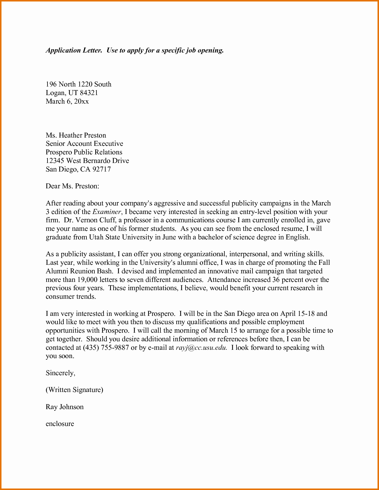 Sample Application Letter for Job Applyreference Letters