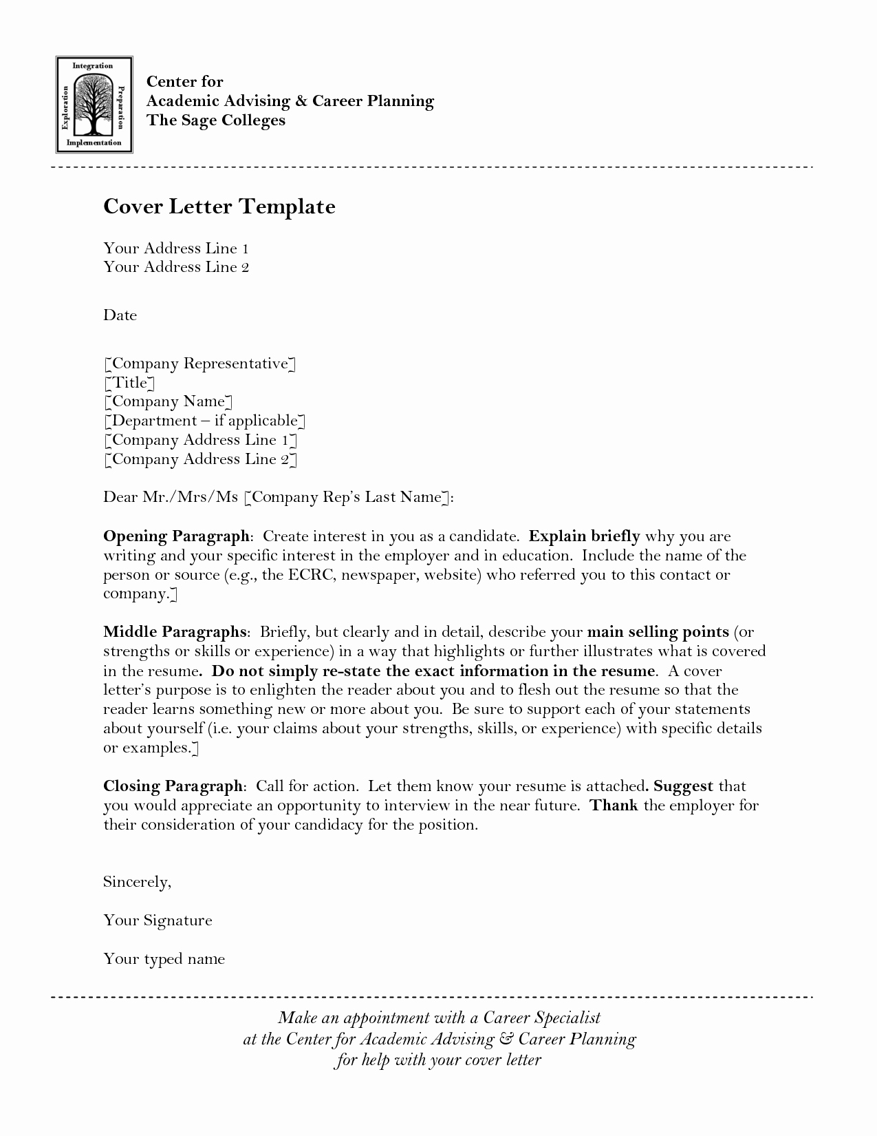 Sample Application Letter for Teaching Position In College