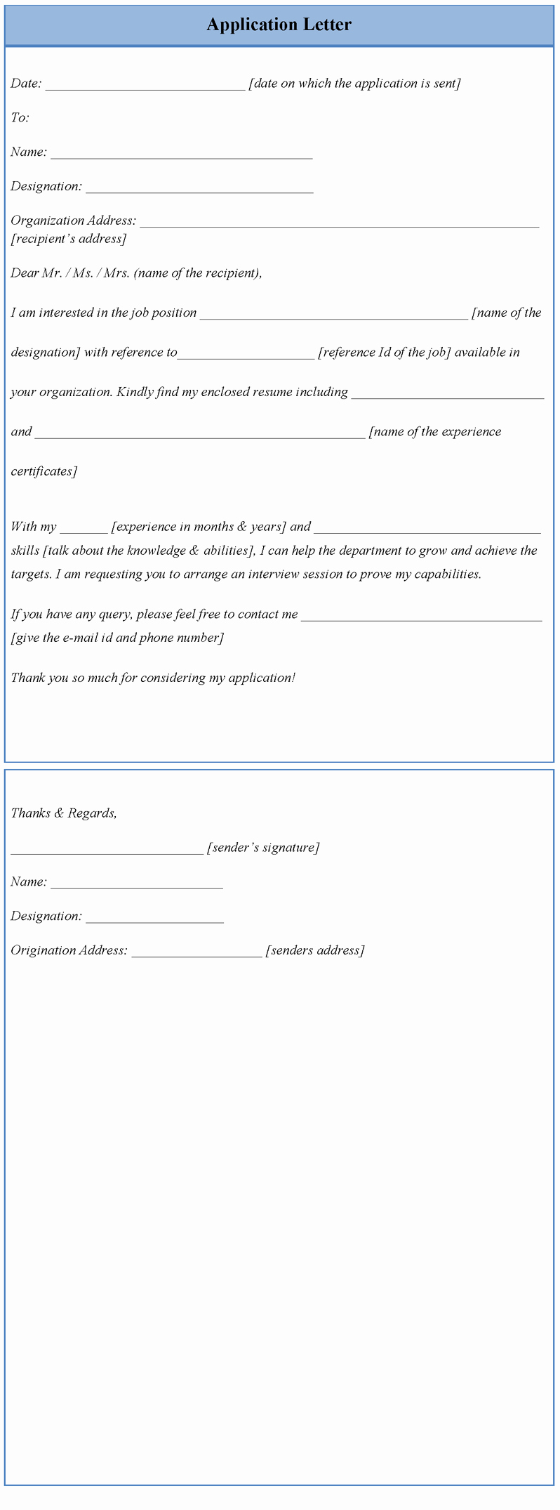 Sample Application Letter Template
