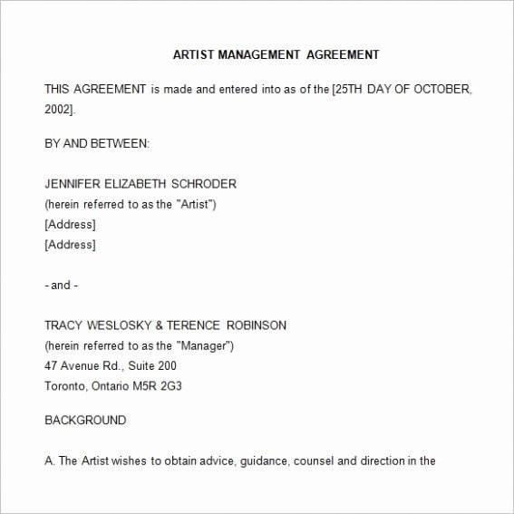 Sample Artist Contract Template