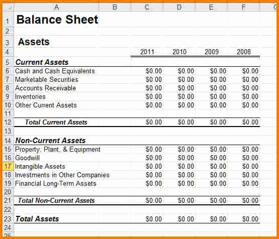 Sample Balance Sheet for Small Business