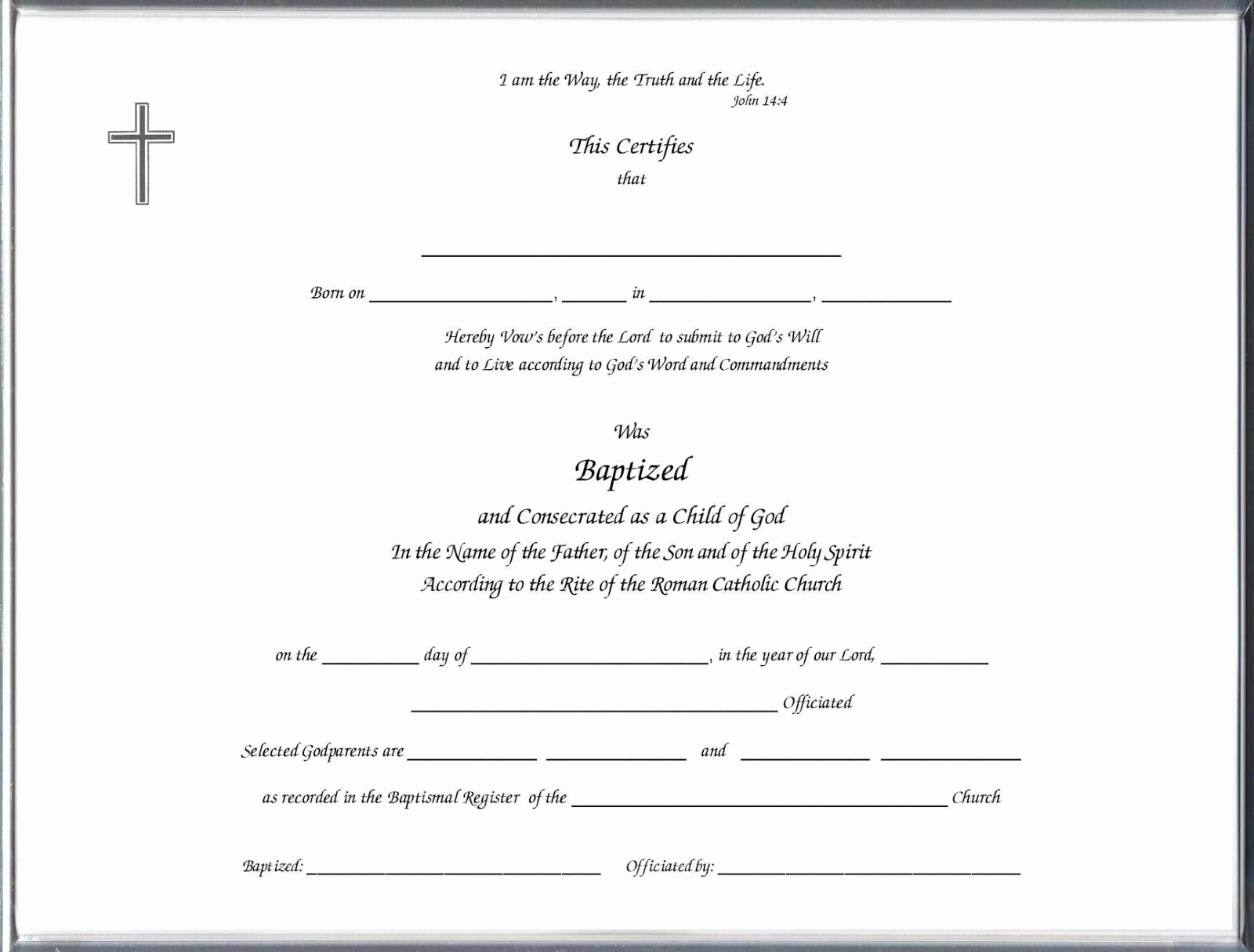 Sample Baptism Certificate Templates