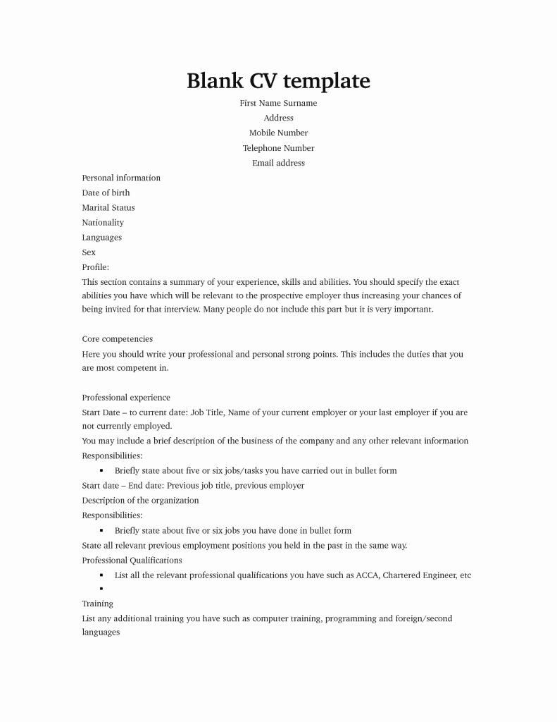 Sample Blank Resume Templates Free Information Youth
