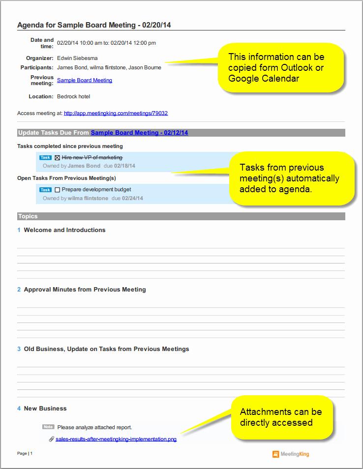Sample Board Meeting Agenda Template