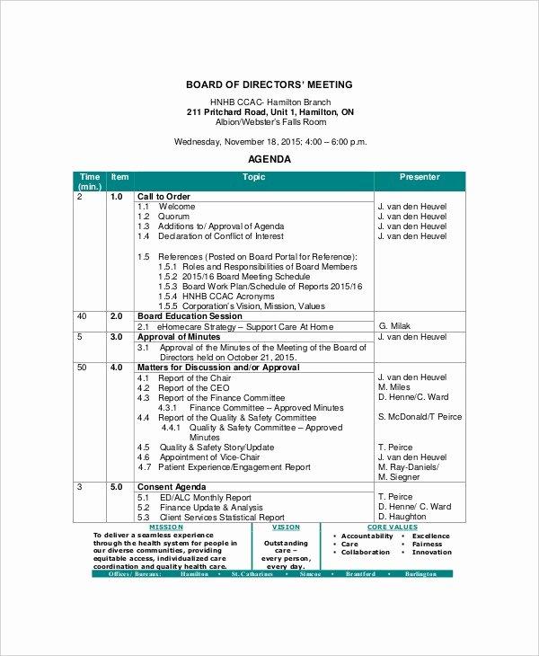 Sample Board Meeting Agenda