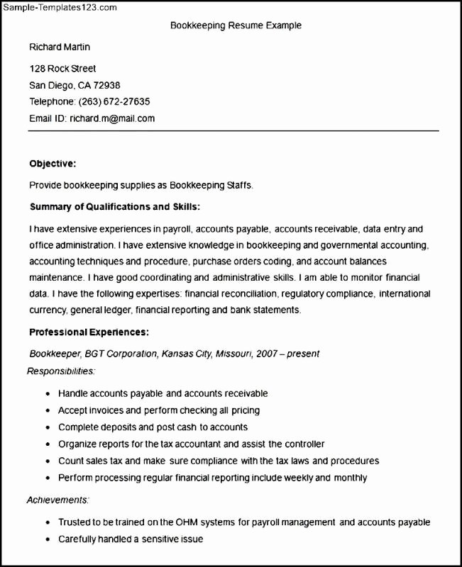 Sample Bookkeeper Resume