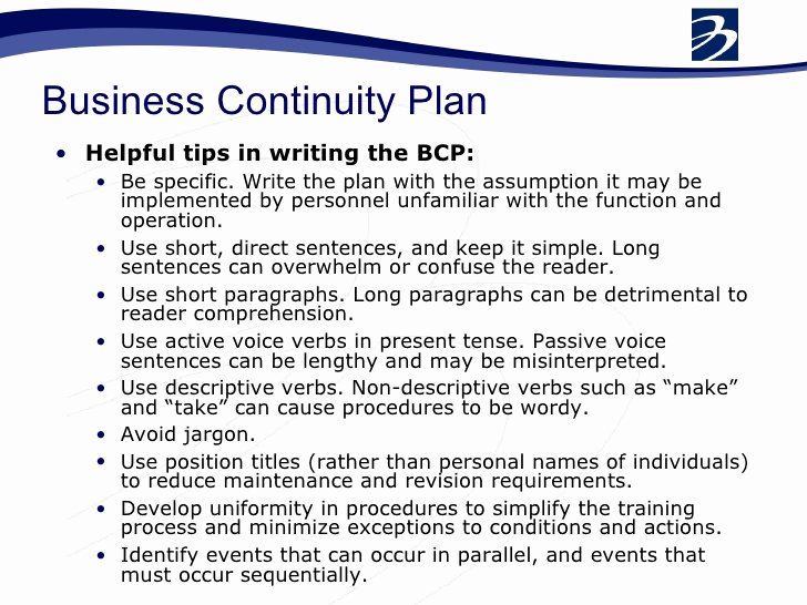 Sample Business Continuity Plan Template for Small