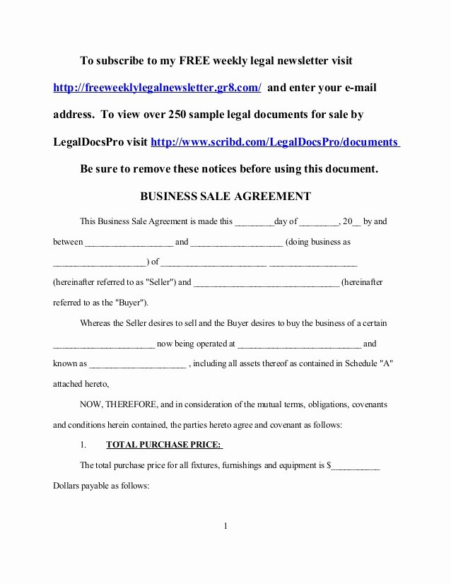Sample Business Sale Agreement
