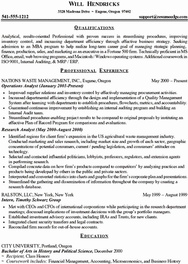 Sample Business School Resume Best Resume Collection