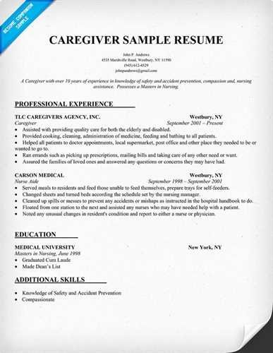 Sample Caregiver Resume Workbloom
