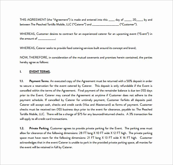 Sample Catering Contract Pdf Template Free Download