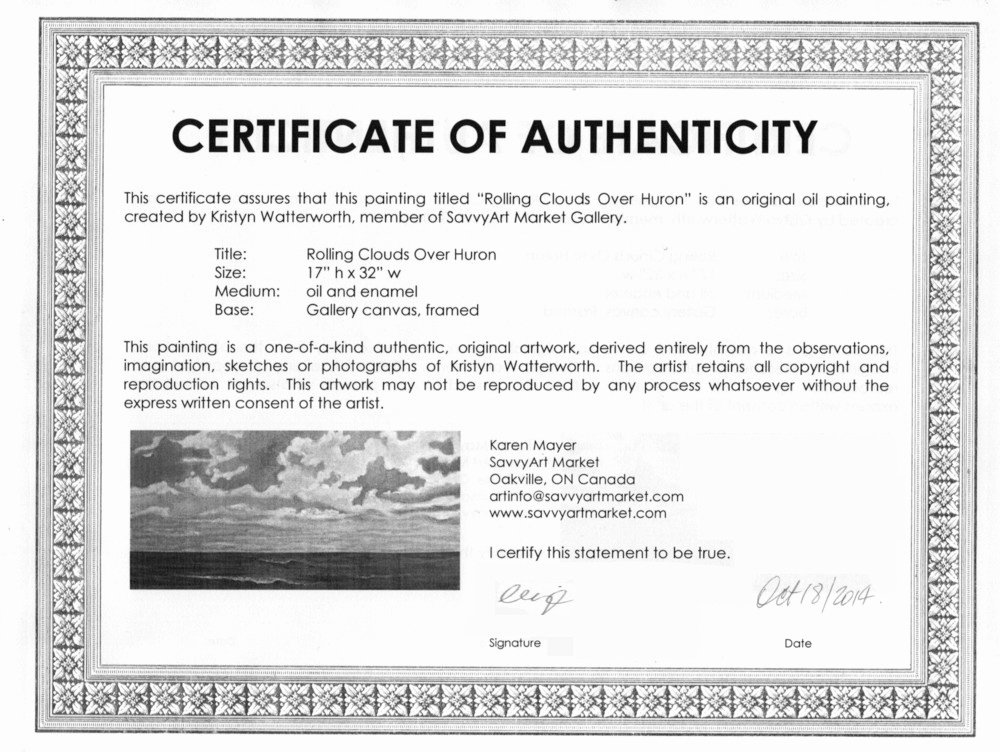 Sample Certificate Of Authenticity for originals