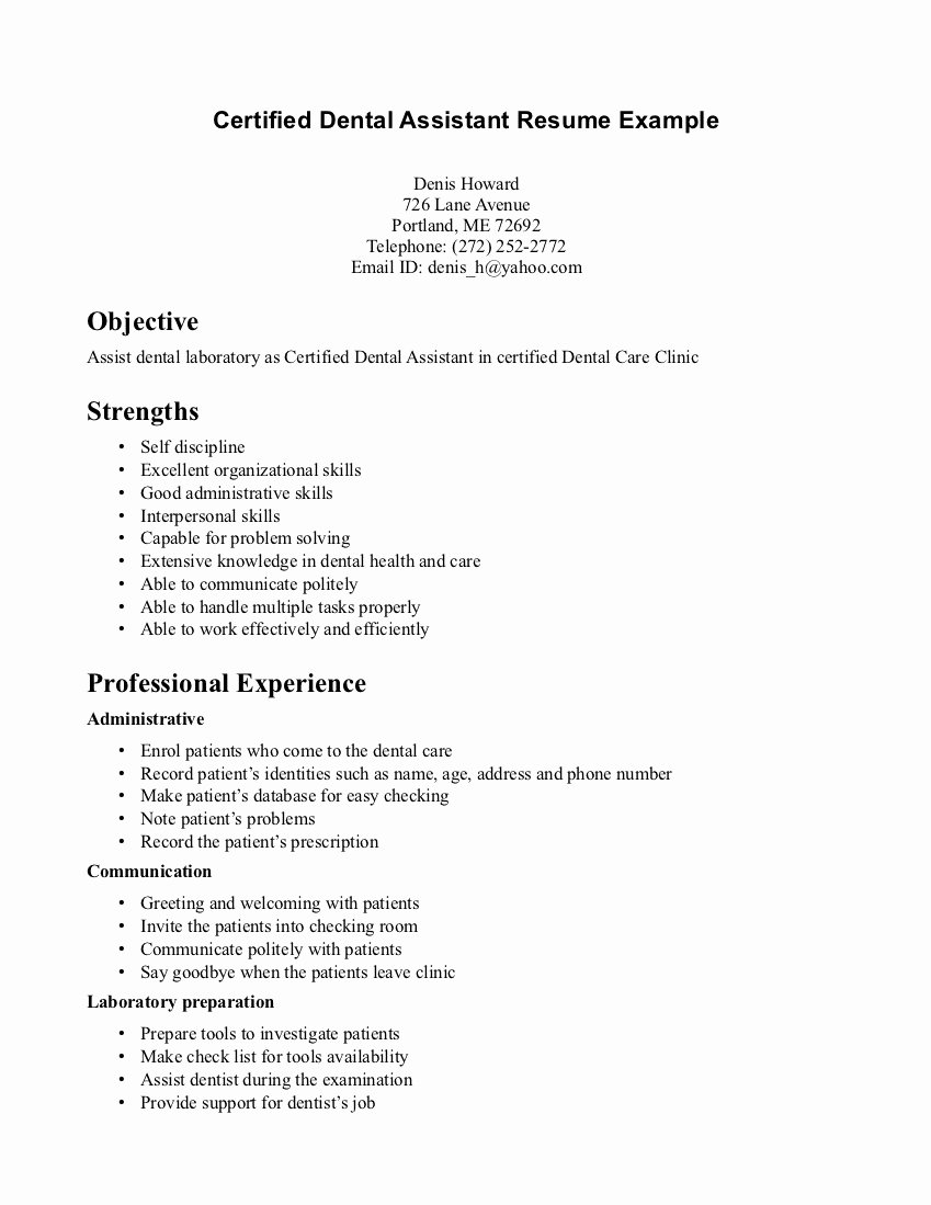 Sample Certified Dental assistant Resume Examples with