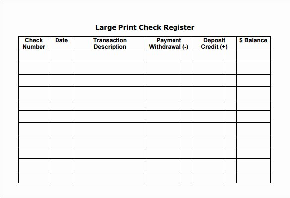 Sample Check Register Template 7 Documents In Pdf Word