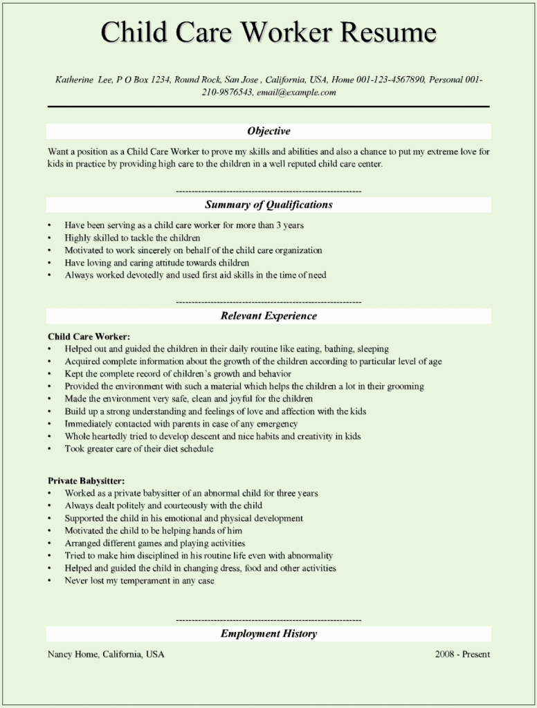 Sample Child Care Worker Resumes for Microsoft Word C