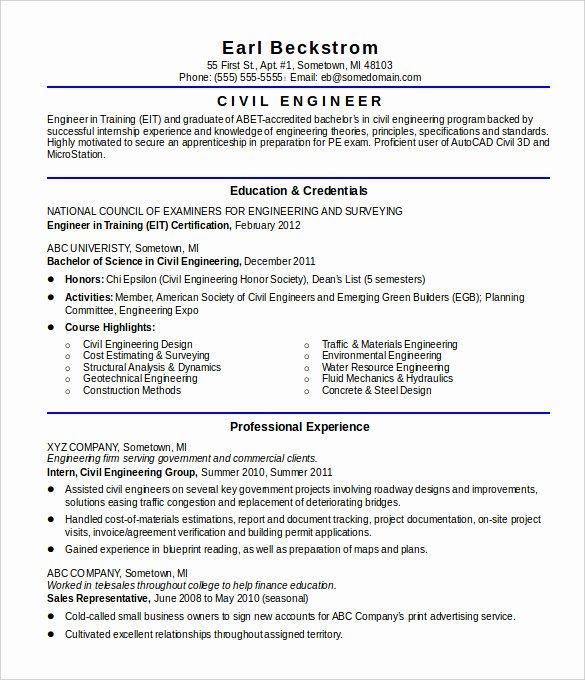 Sample Civil Engineering Resume Entry Level Resume Ideas