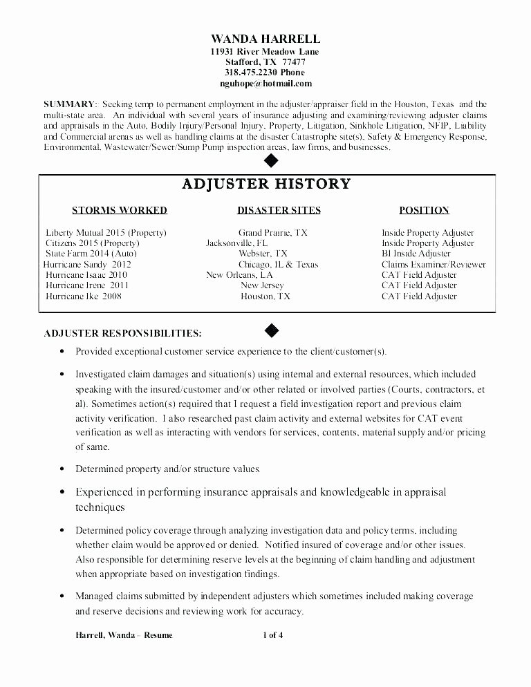 Sample Claims Adjuster Resume X Insurance Claims Adjuster