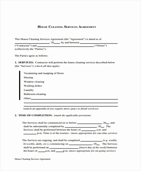 Sample Cleaning Contract forms 7 Free Documents In Word
