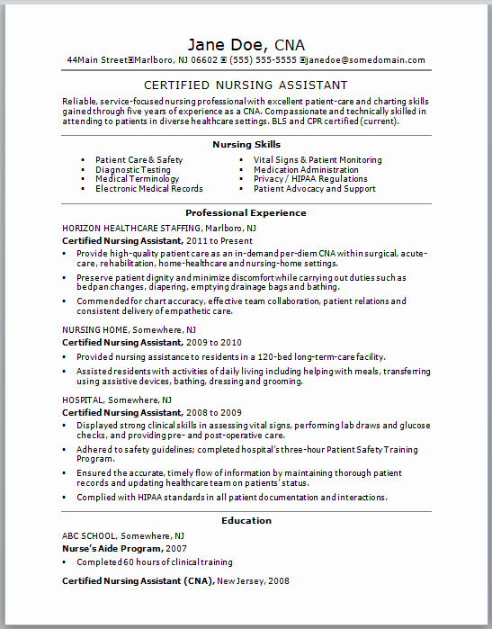 Sample Cna Resume